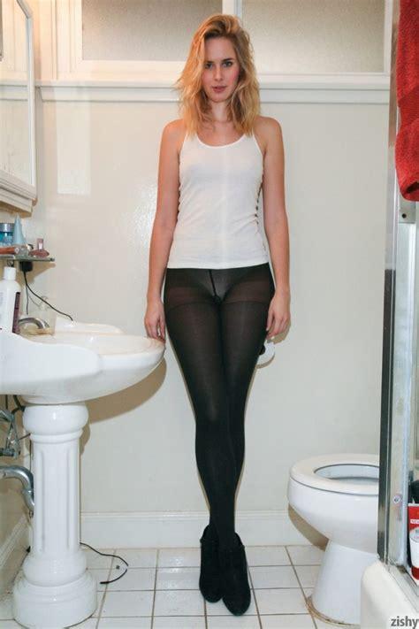 Tall Teen Nessa Millard Drops Sheer Black Pantyhose To Flaunt Hot Ass In Thong
