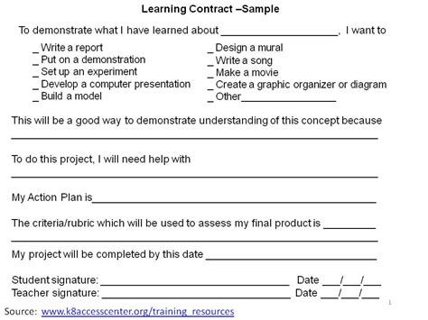 2differentiate / Learning Contract