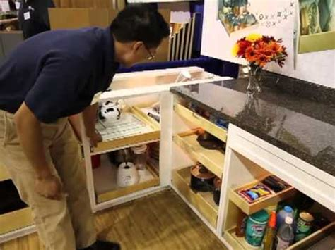 kitchen cabinet blind corner solutions shelfgenie of seattle homeshow booth tour pantry blind 7749