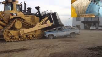 cat d caterpillar d11t bulldozer car crush