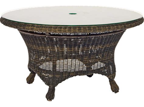 table with umbrella hole woodard serengeti wicker 36 round chat table with umbrella