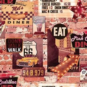 American Diner Wallpaper : arthouse american diner retro 60s brick pattern wallpaper 889600 ~ Orissabook.com Haus und Dekorationen