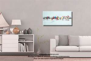 tableau gris moderne ville format horizontal piece unique With tableau pour salon moderne