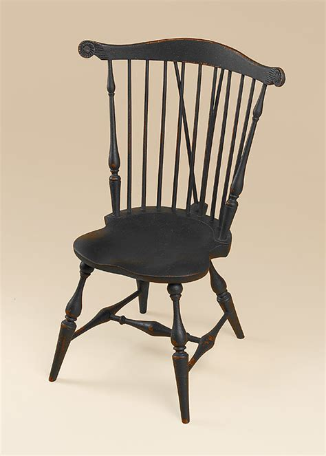 Historical Nine Spindle Fan Back Windsor Side Chair with Brace