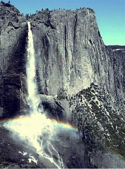 Rainbow Waterfall Nature Yosemite Fabforgottennobility Waterfalls Amazing