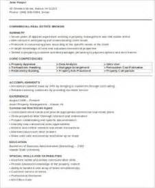 Commercial Real Estate Resume Template by Sle Real Estate Resume 9 Exles In Word Pdf