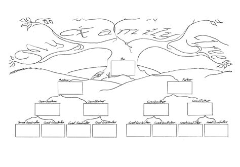 tree template black and white diagram family tree diagram template