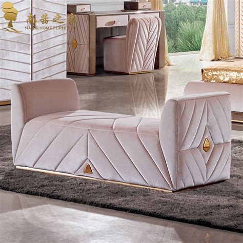 end of bed sofa modern bedroom furniture bed end chair ottoman fabric sofa