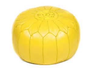 aluminum earrings lemon yellow leather pouf moroccan buzz