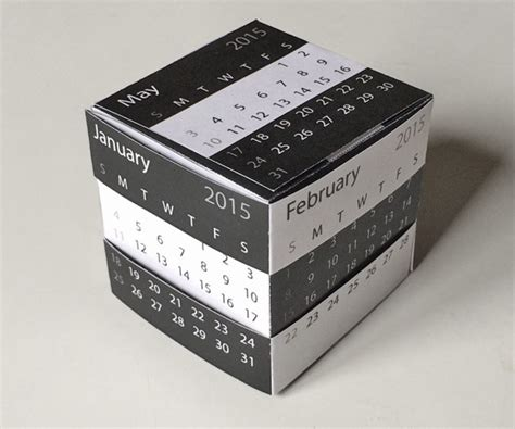 printable desk calendar template gift  puzzle box