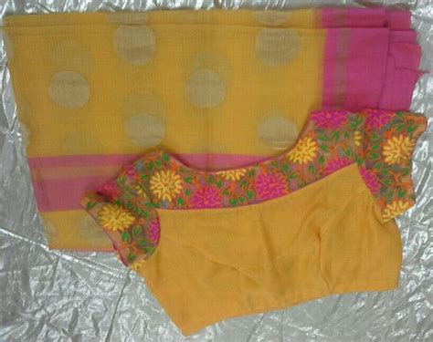 Boat Neck With Front Open by Collection Of Colourful Kota Sarees With Designer Blouses