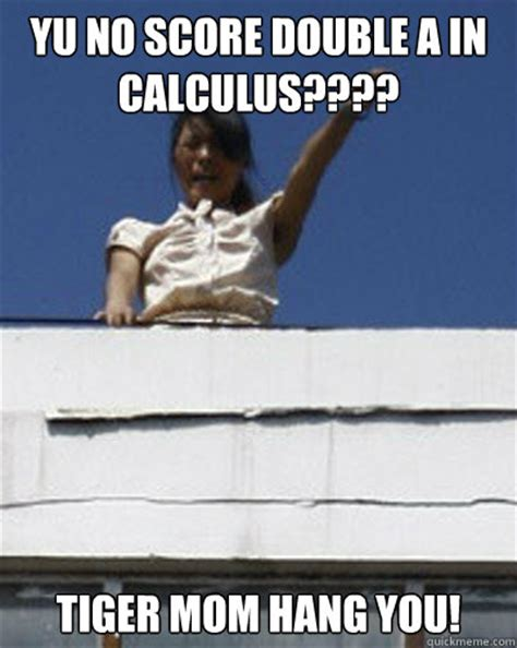 Tiger Mom Memes - yu no score double a in calculus tiger mom hang you dictator tiger mom quickmeme
