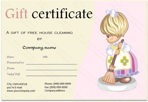 christmas cleaning templates gift certificate for services template download options