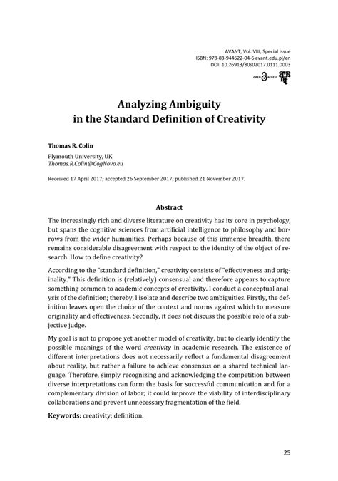 (PDF) Analyzing Ambiguity in the Standard Definition of