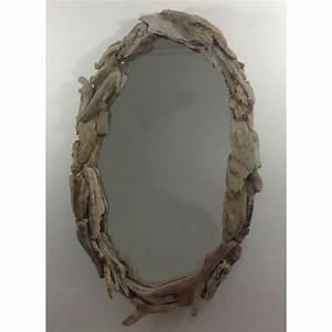 Miroir Bois Flotté : miroir ovale en bois flott ~ Teatrodelosmanantiales.com Idées de Décoration