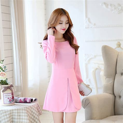 Aliexpress.com  Buy New Korean Fashion Solid Color Long Sleeve 13 20Y Teenage Girls Dress for ...