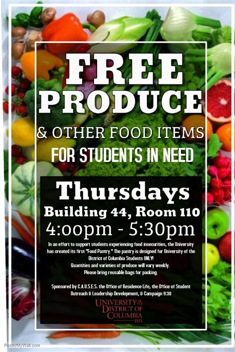 Food Pantry Dc Free Produce Other Food Items Udc Students Only