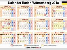Kalender 2018 BadenWürttemberg Ferien, Feiertage, Excel