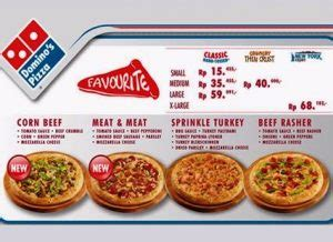 informasi domino pizza menu  harga september