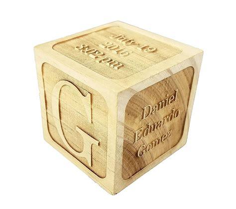 custom engraved wood baby birth block  add