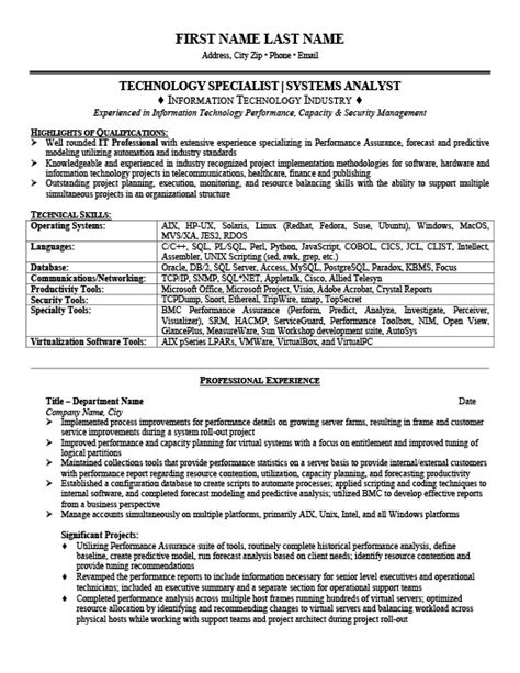 Information Technology Specialist Resume Exles by Technology Specialist Resume Template Premium Resume
