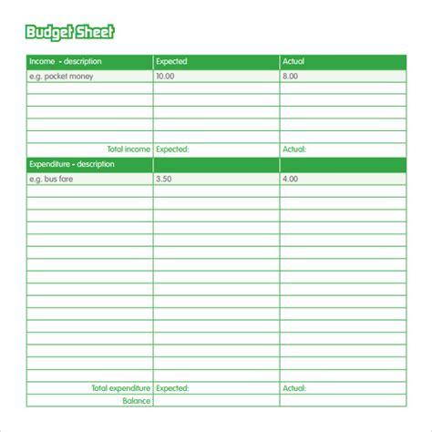 budget sheet templates  samples examples