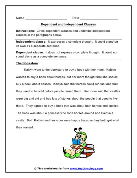 independent clause and dependent clause worksheet the