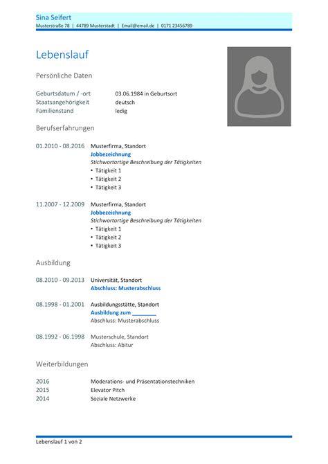 Vordruck Lebenslauf Für Bewerbung by Kostenlose Lebenslauf Muster Und Vorlagen F 252 R Deine