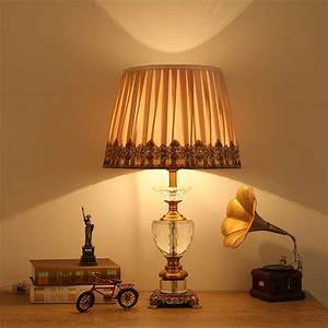 Modern, Crystal, Table, Lamp, Fabric, Lampshade, Classical, Living, Room, Bedroom, Bedside, Table, Lights