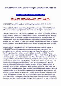2004 2007 Renault Modus Electrical Wiring Diagram Manual