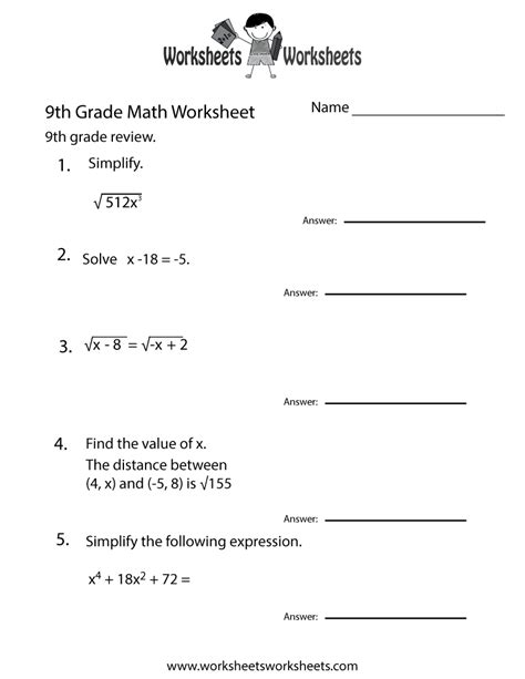 ninth grade math practice worksheet free printable educational worksheet