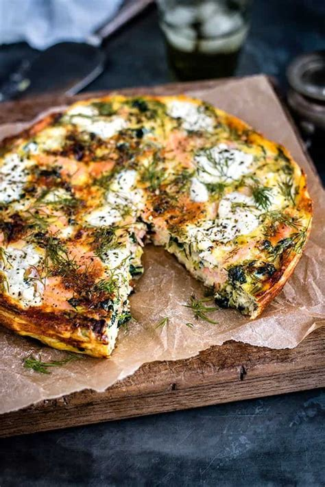 cottage cheese lunch ideas cottage cheese kale and smoked salmon frittata