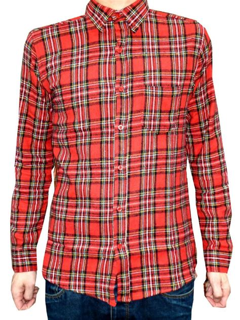 bearsville plaid checkered flannel shirt red