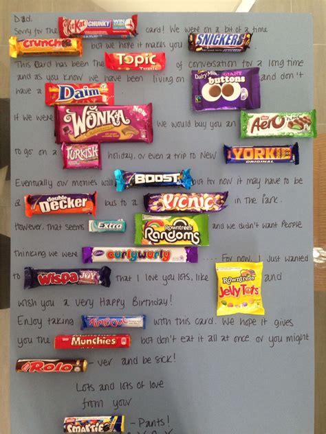 Use these candy sayings to make your happy birthdays even happier! Birthday Card Using Candy Bars   williamson-ga.us