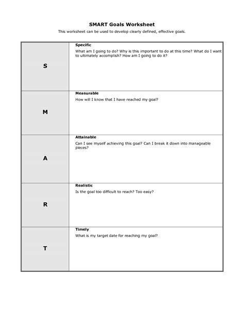 personal smart goal worksheet template smart goals