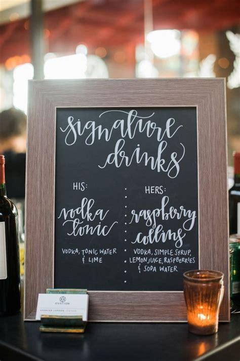brilliant wedding drink station sign ideas