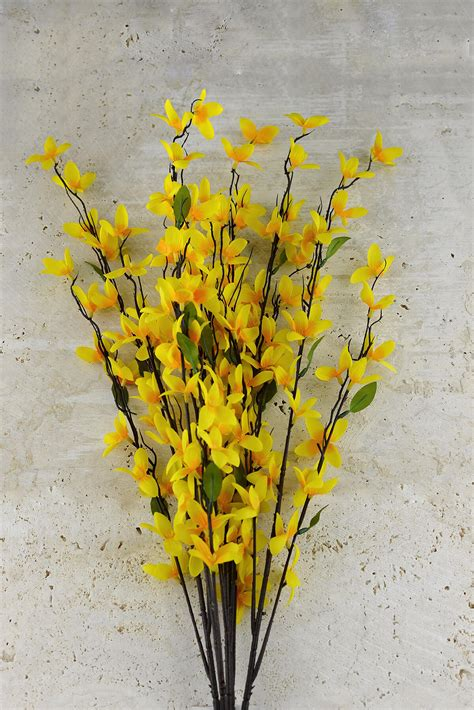 table runners forsythia bush yellow 27in