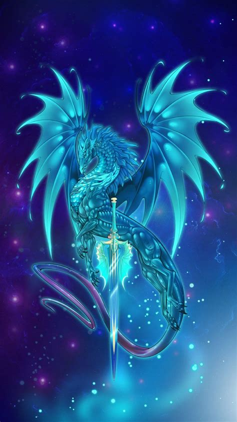 glowing dragon art holding metallic silver sword prepared