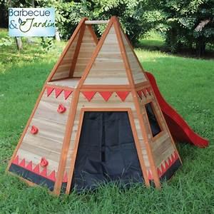 Tipi Enfant Exterieur : toboggan en bois exterieur les cabanes de jardin abri ~ Teatrodelosmanantiales.com Idées de Décoration