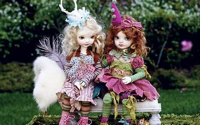 Doll Dolls Wallpapers Barbie Bench Park Backgrounds