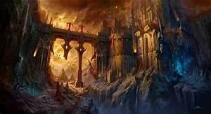 dragons, fortress, fight, bridges, fantasy art, artwork ...