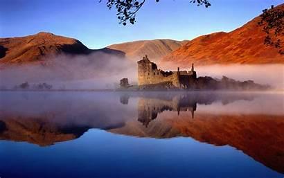 Scotland Castle Landscape Mist Lake Mountain Water