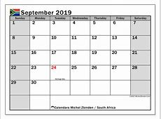Calendar September 2019, South Africa Michel Zbinden en
