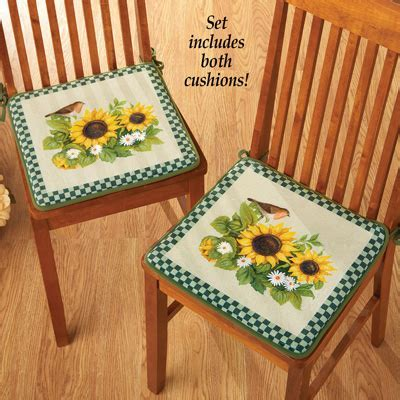 Sunflowers and Birds Chair Cushions   Set of 2 from