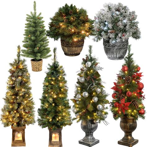 2ft 3ft 4ft pre lit pine christmas tree warm white led