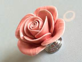 pink rose flower cabinet door knobs dresser knobs drawer knob