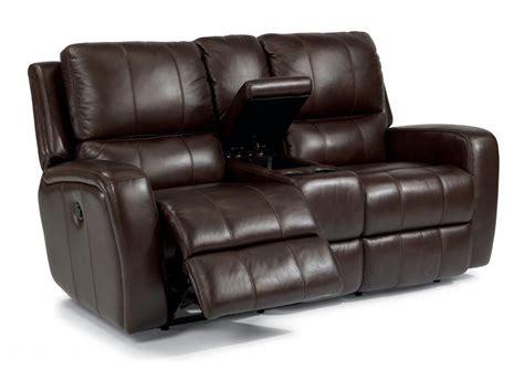flexsteel leather reclining sofa flexsteel leather power reclining loveseat with console