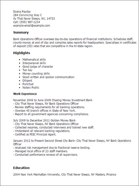 Bank Officer Resume by Professional Bank Operations Officer Templates To Showcase Your Talent Myperfectresume