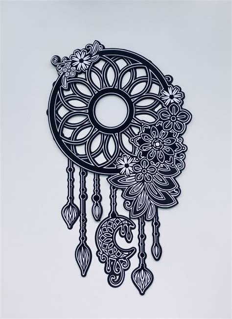 Slow and steady, kind of lightly bend the mat, so the cardstock pops up, then slowly peel the cardstock up (try not to use a right angle, the. Black & White Floral 3D Layered Dream Catcher - Cardstock ...