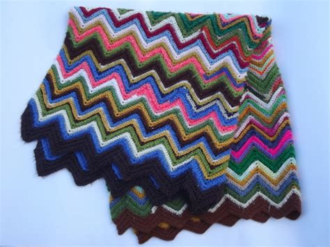 vintage crochet afghan blanket chevron stripes  crazy